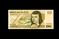 Mexico, North America.  Two Hundred Pesos Banknote, showing Sister Juana de Asbaje (Juana Ines de la Cruz), a 17th-century nun, poet, and writer.