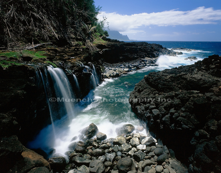 """Cascade and surf at Turtle Bay, Kauai   HAWAII"""