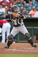 Colorado Springs Sky Sox catcher Dustin Garneau (18) throws to 2nd base at the Chickasaw Bricktown Ballpark during the Pacific League game against the Oklahoma City RedHawks on August 3, 2014 in Oklahoma City, Oklahoma.  The RedHawks defeated the Sky Sox 8-1.  (William Purnell/Four Seam Images)