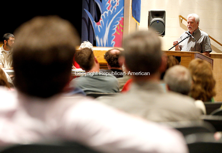 Winsted, CT- 04 May 2015-050415CM07- Timothy Gidman addresses  town officials during the 2015-16 town budget proposal meeting at the Gilbert School in Winsted on Monday.  Christopher Massa Republican-American