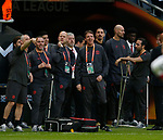 Zlatan Ibrahimovic of Manchester United stands among the backroom staff before the UEFA Europa League Final match at the Friends Arena, Stockholm. Picture date: May 24th, 2017.Picture credit should read: Matt McNulty/Sportimage