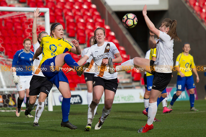A melee in the London box during Doncaster Rovers Belles vs London Bees, FA Women's Super League FA WSL2 Football at the Keepmoat Stadium on 12th March 2017