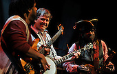 The first concert of the 19th Celtic Connections – Bela Fleck and the Flecktones – at the Glasgow Royal Concert Hall - Glasgow – last night (Thurs). Virtuoso banjo player Fleck is pictured with two of his band members - Victor (bass) and Roy Wooten. The 2012 event which will play host to over 2100 performers and 300 events over the next 18 days – picture by Donald MacLeod 19.1.12 www.donald-macleod.com clanmacleod@btinternet.com