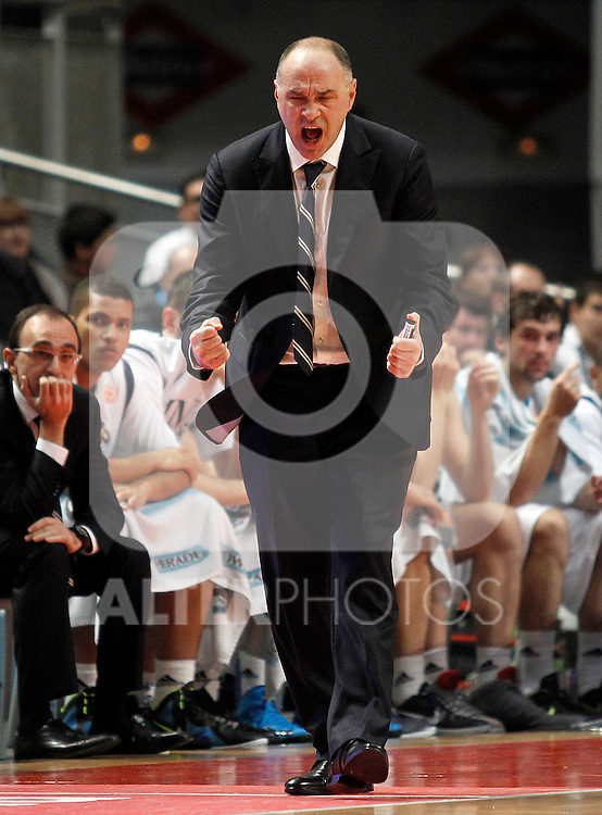 Real Madrid's coach Pablo Laso during Euroleague 2012/2013 match.November 23,2012. (ALTERPHOTOS/Acero)