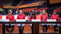 Den Bosch, The Netherlands, Februari 8, 2019,  Maaspoort , FedCup  Netherlands - Canada, Draw, Canadian team ltr: , Bianca Andreescu, Rebecca Marino, Francoise Abanda, Gabriela Dabrowski and captain Heidi El Tabakh.<br /> Photo: Tennisimages/Henk Koster
