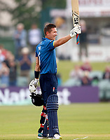 Joe Denly raises his bat after scoring a hundred for Kent during the Royal London One Day Cup game between Kent and Glamorgan at the St Lawrence Ground, Canterbury, on May 25, 2018