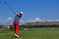Eunshin Park (KOR) on the 8th tee during Round 3 of the Rocco Forte Sicilian Open 2018 played at Verdura Resort, Agrigento, Sicily, Italy on Saturday 12th May 2018.<br /> Picture:  Thos Caffrey / www.golffile.ie<br /> <br /> All photo usage must carry mandatory copyright credit (&copy; Golffile | Thos Caffrey)