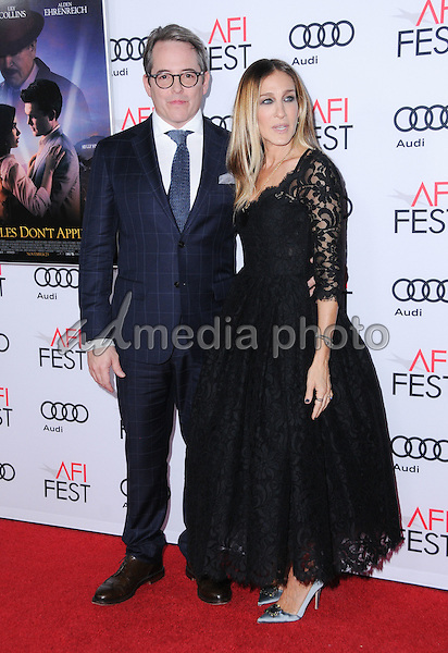 """10 November 2016 - Hollywood, California. Matthew Broderick, Sarah Jessica Parker. AFI FEST 2016 - Opening Night Premiere Of """"Rules Don't Apply"""" held at TCL Chinese Theater. Photo Credit: Birdie Thompson/AdMedia"""