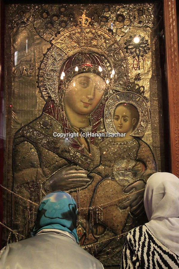 Bethlehem, depiction of Mary and Jesus at the Church of the Nativity
