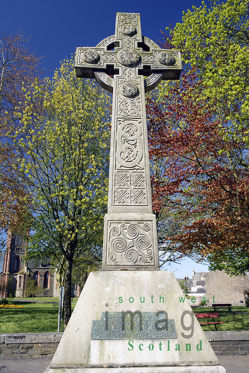 Kirkcudbright town centre modern Celtic Cross memorial to Dunbar James, Earl of Selkirk, Galloway Scotland UK