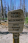 Trail sign for Wilderness boundary, on trail to Rainbow Falls, Ansel Adams Wilderness, Eastern Sierra, CALIFORNIA