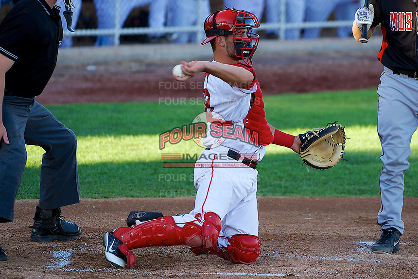 Michael Strentz (33) of the Orem Owlz on defense against the Billings Mustangs in Pioneer League action at Home of the OWLZ on August 15, 2014 in Orem , Utah.  (Stephen Smith/Four Seam Images)