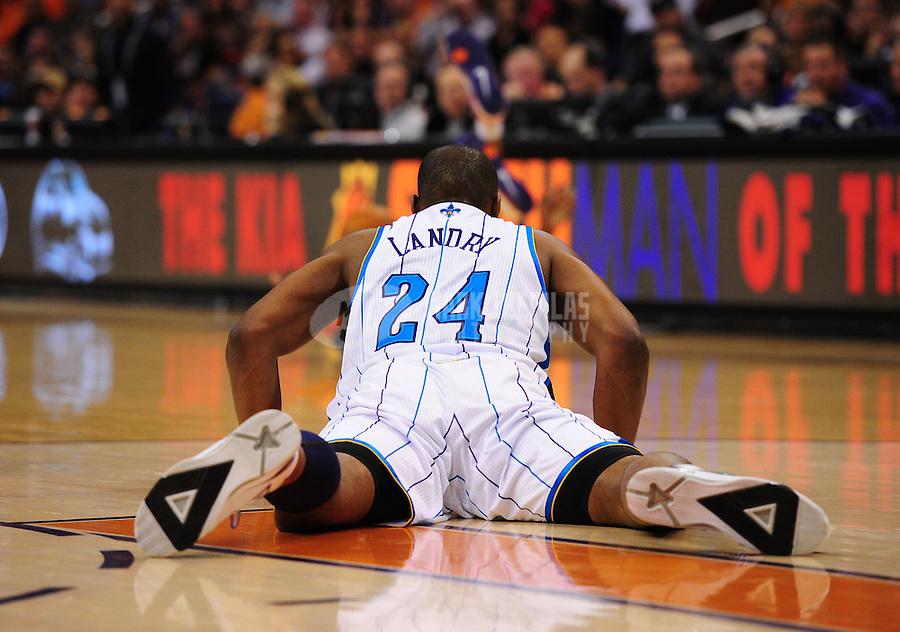 Mar. 25, 2011; Phoenix, AZ, USA; New Orleans Hornets forward (24) Carl Landry against the Phoenix Suns at the US Airways Center. Mandatory Credit: Mark J. Rebilas-