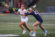 College Park, MD - February 25, 2017: Maryland Terrapins Nadine Hadnagy (14) gets hit during game between North Carolina and Maryland at  Capital One Field at Maryland Stadium in College Park, MD.  (Photo by Elliott Brown/Media Images International)
