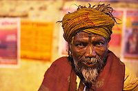 A Sadu on the bank of the Gabges Varanasi India,