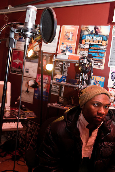 December 15, 2010. Durham, NC.. Rapper Kaze, at his home studio.
