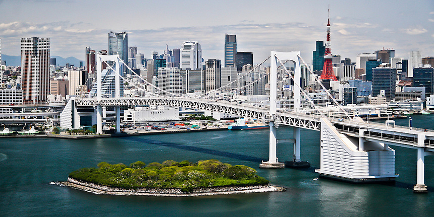 Spectacular cityscape of Tokyo with  Rainbow bridge.You can see Mori`s Roppongi Hills & Tokyo Tower.