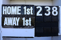 Detail view of the scoreboard ahead of Leicestershire CCC vs Essex CCC, Specsavers County Championship Division 2 Cricket at the Fischer County Ground, Grace Road on 24th August 2016