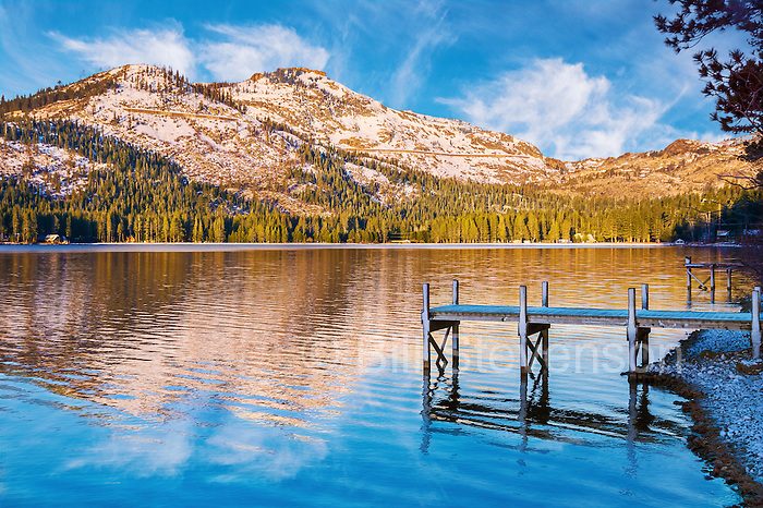 A picture of Donner Peak reflecting in Donner Lake. This photo was taken in early May while snow was still on the peak.