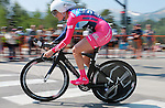 "August 121, 2015 - Breckenridge, Colorado, U.S. -  Vista Dallas rider, Mia Manganello, during the inaugural women's edition of the U.S. Pro Cycling Challenge, Breckenridge, Colorado.  Known as ""America's Race,"" the USA Pro Challenge takes place August 17-23, 2015 and for the first time will highlight women's cycling through an inaugural  three-day invitation-only event that will feature many of the USA's top women cyclists."