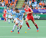 The Hague, Netherlands, June 15: Agustin Mazzilli #26 of Argentina in action during the field hockey bronze match (Men) between Argentina and England on June 15, 2014 during the World Cup 2014 at Kyocera Stadium in The Hague, Netherlands. Final score 2-0 (0-0)  (Photo by Dirk Markgraf / www.265-images.com) *** Local caption *** Agustin Mazzilli #26 of Argentina, Harry Martin #9 of England