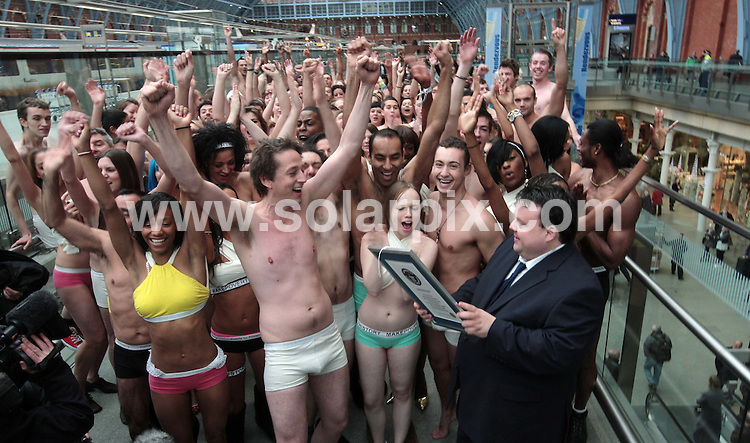 **ALL ROUND PICTURES FROM SOLARPIX.COM**.**NO UK NEWSPAPER PUBLICATION **UK MAGAZINE & SUPPLEMENT PUBLICATION ONLY** AND NO PUBLICATION IN FRANCE, SCANDINAVIA, AUSTRALIA AND GERMANY** .Earlier today the world record was set for the largest gathering of people wearing underpants or knickers at  St. Pancras International train station in central London this morning. London, UK. 13th November 2008.JOB REF: 7879 SFE       DATE: 13_11_2008.**MUST CREDIT SOLARPIX.COM OR DOUBLE FEE WILL BE CHARGED* *UNDER NO CIRCUMSTANCES IS THIS IMAGE TO BE REPRODUCED FOR ANY ONLINE EDITION WITHOUT PRIOR PERMISSION*
