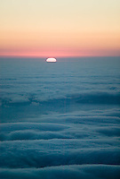 aerial photograph fog and sunset San Mateo County, California