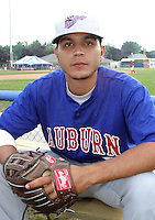 July 4, 2003:  Pitcher Danny Core (7) of the Auburn Doubledays, Class-A affiliate of the Toronto Blue Jays, during a game at Dwyer Stadium in Batavia, NY.  Photo by:  Mike Janes/Four Seam Images