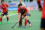 The Hague, Netherlands, June 10: Manjae Jung #12 of Korea looks to pass during the field hockey group match (Men - Group B) between Germany and Korea on June 10, 2014 during the World Cup 2014 at Kyocera Stadium in The Hague, Netherlands. Final score 6-1 (3-0) (Photo by Dirk Markgraf / www.265-images.com) *** Local caption ***