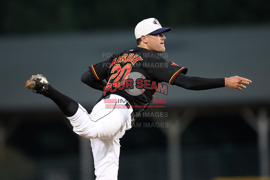 Rochester Red Wings relief pitcher Pat Neshek (20) delivers a pitch during a game vs. the Scranton Wilkes-Barre Yankees at Frontier Field in Rochester, New York;  July 5, 2010.   Scranton defeated Rochester 9-5.  Photo By Mike Janes/Four Seam Images