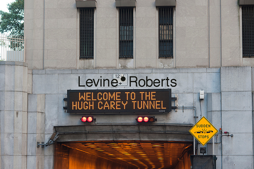 "The Brooklyn Battery Tunnel in New York is renamed the Hugh L. Carey Tunnel on Monday, October 22, 2012 after the late NYS Governor Carey who served from 1975 to 1982. Carey was responsible for seeing New York City out its fiscal crisis in the 70's as well as starting the iconic ""I (heart) New York"" promotional program. Carey died in 2011 at the age of 92. (© Richard B. Levine)"