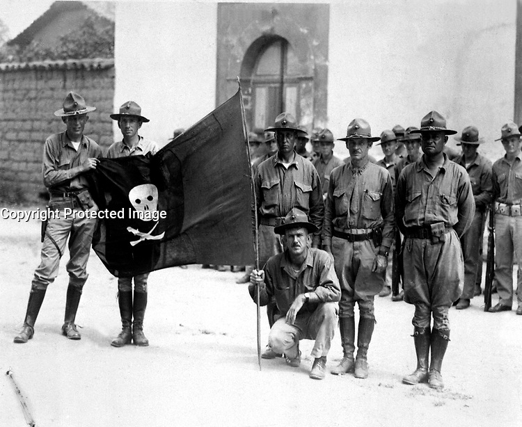 Sandino's Flag.  Nicaragua, 1932.  (Marine Corps)<br /> EXACT DATE SHOT UNKNOWN<br /> NARA FILE #:  127-N-516038<br /> WAR &amp; CONFLICT BOOK #:  376
