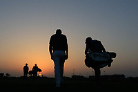 Players on the 18th during the second round of the NBO Open played at Al Mouj Golf, Muscat, Sultanate of Oman. <br /> 16/02/2018.<br /> Picture: Golffile | Phil Inglis<br /> <br /> <br /> All photo usage must carry mandatory copyright credit (&copy; Golffile | Phil Inglis)
