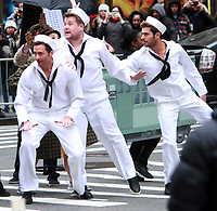 NEW YORK, NY - DECEMBER 8: Hugh Jackman, James Corden, Zac Efron, filming scenes for The Late Late Show With James Corden segment, Crosswalk The Musical in New York City on December 8, 2017. Credit: RW/MediaPunch /nortephoto.com NORTEPHOTOMEXICO