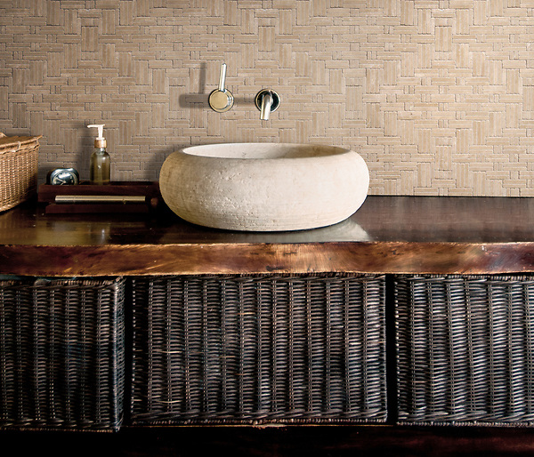 Jute, a hand-cut tumbled mosaic, shown in Lagos Gold, is part of the Tissé® collection for New Ravenna.