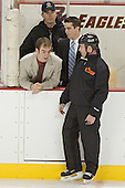 Justin Greene and Pat Gannon chat with an official during warmups - Boston College defeated Merrimack College 3-0 with Tim Filangieri's first two collegiate goals on November 26, 2005 at Kelley Rink/Conte Forum in Chestnut Hill, MA.