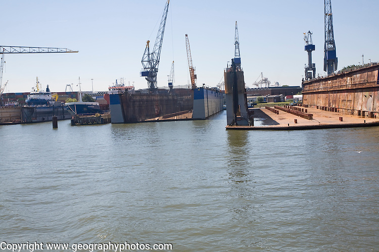 Empty dry docks in shipyard, Port of Rotterdam, Netherlands