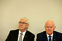 Hooded men Francis McGuigan and Liam Shannon (right) listens to reporters questions during a Amnesesty International press conference in Belfast, Northern Ireland, Tuesday 20th of March 2018. The European Court of Human Rights (ECHR) has rejected a request to find that men detained during internment in Northern Ireland suffered torture. The so-called hooded men claimed they were subjected to torture by the British army in 1971. Lawyers for the men have called on the Irish government to appeal. In 1978, the European Court of Human Rights held that the UK had carried out inhuman and degrading treatment. Photo/Paul McErlane