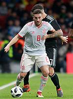 Spain's Koke Resurreccion (l) and Argentina's Maximiliano Meza during international friendly match. March 27,2018. *** Local Caption *** © pixathlon<br /> Contact: +49-40-22 63 02 60 , info@pixathlon.de