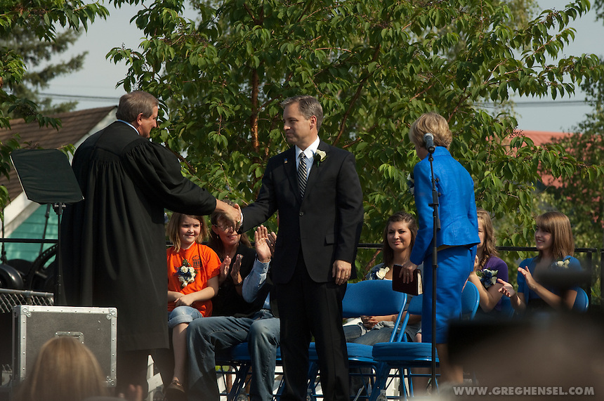 Sean Parnell is sworn in as Governor of Alaska at Pioneer Park in Fairbanks on July 26, 2009.