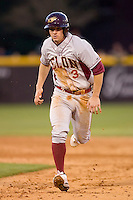 Neal Pritchard #3 of the Elon Phoenix hustles back to first base at Clark-LeClair Stadium March 29, 2009 in Greenville, North Carolina. (Photo by Brian Westerholt / Four Seam Images)