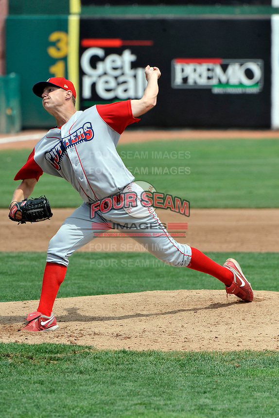 Williamsport Crosscutters pitcher Austin Brough (39) during game against the Brooklyn Cyclones at MCU Park on August 3, 2011 in Brooklyn, NY.  Brooklyn defeated Williamsport 3-2.  Tomasso DeRosa/Four Seam Images