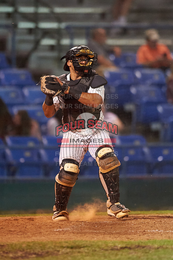 Great Falls Voyagers catcher Ivan Gonzalez (8) during a Pioneer League game against the Missoula Osprey at Centene Stadium at Legion Park on August 19, 2019 in Great Falls, Montana. Missoula defeated Great Falls 1-0 in the second game of a doubleheader. (Zachary Lucy/Four Seam Images)