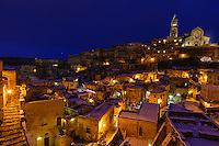 Europe,Italy,Basilicata, Matera, capital of Culture, World Heritage Site, unusual snow in Sassi at night