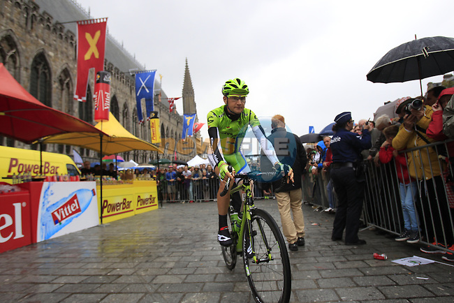 Edward King (USA) Cannondale at sign on in Ypres before the start of the cobbled stage Stage 5 of the 2014 Tour de France running 155.5km from Ypres to Arenberg. 9th July 2014.<br /> Picture: Eoin Clarke www.newsfile.ie