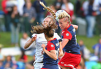Boyds, MD - Saturday May 07, 2016: Portland Thorns FC midfielder Dagny Brynjarsdottir (11) caught between Washington Spirit midfielder Estefania Banini (10) and midfielder Joanna Lohman (15) during a regular season National Women's Soccer League (NWSL) match at Maureen Hendricks Field, Maryland SoccerPlex. Washington Spirit tied the Portland Thorns 0-0.