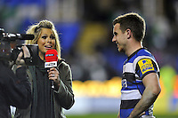 Man of the Match George Ford is interviewed for BT Sport. Aviva Premiership match, between London Irish and Bath Rugby on March 22, 2014 at the Madejski Stadium in Reading, England. Photo by: Patrick Khachfe / Onside Images