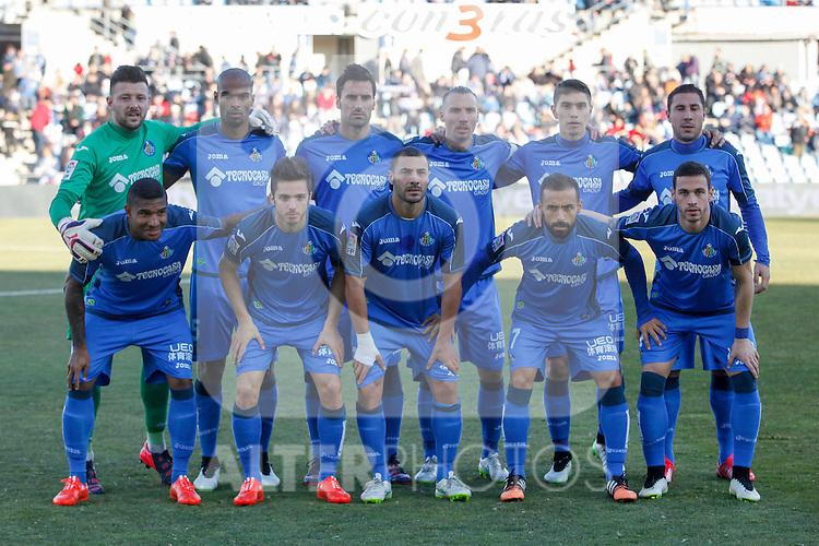 Getafe´s initial team players during 2014-15 La Liga match at Alfonso Perez Coliseum stadium in Getafe, Spain. February 08, 2015. (ALTERPHOTOS/Victor Blanco)