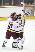 Jimmy Hayes (BC - 10), Parker Milner (BC - 35) and Pat Mullane (BC - 11) celebrate the win. - The Boston College Eagles defeated the Merrimack College Warriors 4-3 on Friday, October 30, 2009, at Conte Forum in Chestnut Hill, Massachusetts.