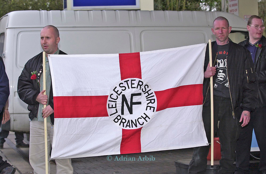 National Front (NF)supporters and Police in Bromsgrove  West Midlands.  <br /> 40 members of the national front marched through the town in an effort to gain support.  <br /> The day also happened to be Hitler's birthday and around 50 Anti Nazi league members turned up to  protest against the march.  Police spent most of the  day keeping the two  groups apart and  one NF member was arrested for a public order offence.